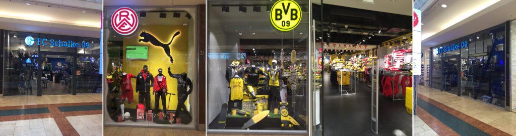 Fan-Shop Schaufenster im Limbecker Platz, Essen